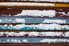 Colorful board covered with snow. Stock Photography