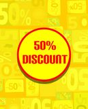 Colorful board for 50% discount in yellow tones Royalty Free Stock Photo