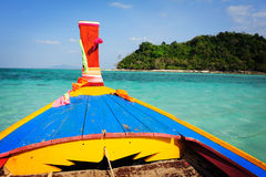 Traditional longtail boat and Phi Phi Leh Island Stock Images