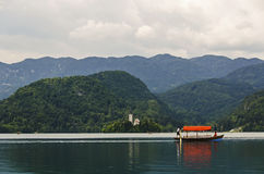 Colorful boat on Lake Bled. Slovenia Royalty Free Stock Images