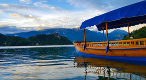 Colorful boat on Lake Bled. Slovenia Stock Images