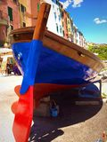 Colorful boat in Portovenere. Panoramic view of Portovenere, Liguria-Italy with a beautiful colorful boat Stock Photography
