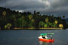 Colorful boat at Savusavu harbor, Vanua Levu island, Fiji Stock Photo