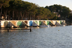 Colorful boathouses Royalty Free Stock Photo