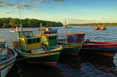 Colorful boats. Some colorful fishing boats at a small town's harbour Stock Photos