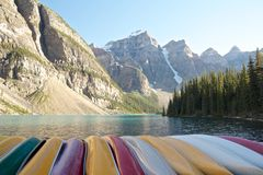 Colorful Boats. At the shore of Moraine Lake, Canada Royalty Free Stock Photos