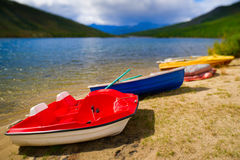 Colorful boats. On the lake Stock Image