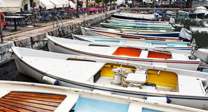 Colorful boats. In italian marina Royalty Free Stock Images