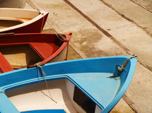 Colorful boats. Colourful boats on a sunny day in a small village in Italy stock photo