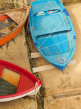 Colorful boats. A top view of typical colourful boats on a sunny day, Italy royalty free stock photo
