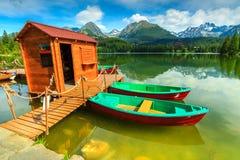Colorful boats on the alpine lake,Strbske Pleso,Slovakia,Europe Stock Photos