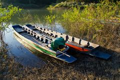 Colorful boats on the bank Royalty Free Stock Photography