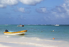 Colorful boats at the Bavaro Beach in Punta Cana, Dominican Republic Royalty Free Stock Photography