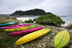 Colorful boats on the beach. Six colorful boats on the beach Stock Image