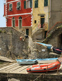 Colorful Boats and Buildings of Riomaggiore Cinque Terre Italy Stock Images