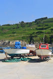 Colorful fishing boats. Charming colorful fishing boats in the sea port Royalty Free Stock Image