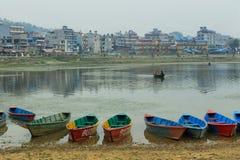 Colorful boats at Fewa lake in Pokhara Stock Image