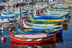 Colorful boats in the harbor Stock Images