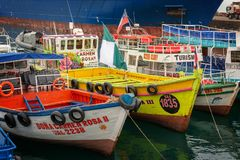 Colorful boats in the harbor of Valparaiso Chile. Colorful boats in the harbor of Valparaiso, Chile royalty free stock photos