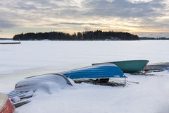Colorful boats in harbor at winter Royalty Free Stock Photography