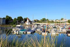 Colorful Boats in the Kincardine, Ontario Marina royalty free stock photo