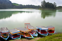 Colorful boats by the lake Stock Image