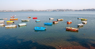 Colorful boats on lake Royalty Free Stock Photography