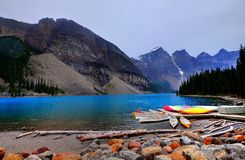 Colorful boats on lake. stock photography