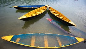 Colorful boats on Lake. Phewa, Pokhara, Nepal stock images