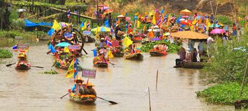 Colorful of boats in Lent candle festival paradise Stock Photography