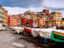 Colorful boats. Little boats in the city royalty free stock photo