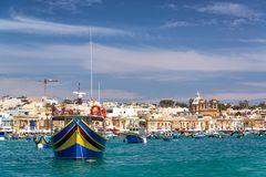 Colorful Boats in Marsaxlokk royalty free stock photography