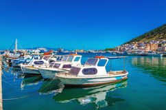 Colorful boats moored in Greek port, Greece Royalty Free Stock Photos