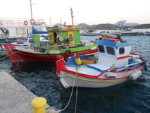 Colorful boats moored in Istanbul Bosphorus Stock Image