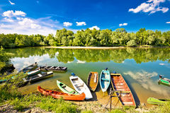 Colorful boats on mouth of Drava and Mura rivers Stock Photography