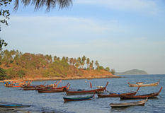 Colorful boats nearly the shore, Phuket island Royalty Free Stock Images