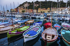 Colorful boats in Nice Stock Photography
