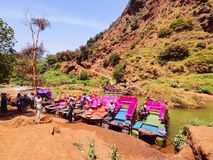 Colorful Boats in Ouzoud, Morocco Stock Images