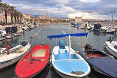 Colorful boats over the Split old town, Croatia Royalty Free Stock Images