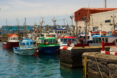 Colorful boats packed into the harbor and marina at Los Cristianos ferry terminal  in Tenerife on a hot summer day Royalty Free Stock Photo