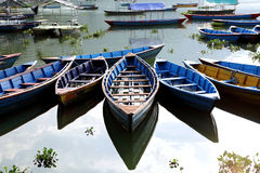 Colorful boats parked in Phewa lake Stock Photo
