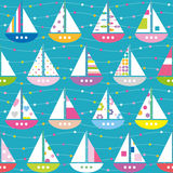 Colorful boats pattern royalty free illustration