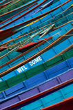 Colorful boats in Phewa Lake Stock Image