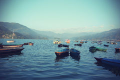 Colorful boats in Phewa Lake in Pokhara royalty free stock photos