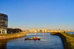 Colorful boats in the port. Galway, Ireland. Royalty Free Stock Image