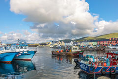 Colorful boats in the port of Portmagee Royalty Free Stock Photo