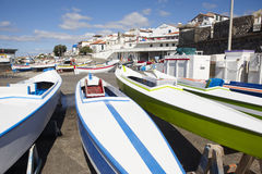 Colorful boats on a port. Sao Miguel island. Azores. Portugal Royalty Free Stock Images
