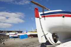 Colorful boats on a port. Sao Miguel island. Azores. Portugal Royalty Free Stock Photo