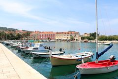 Supetar, Croatia. Colorful boats in port of Supetar, Brac island, Croatia. Supetar is popular summer travel destination royalty free stock images