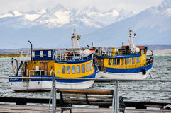 Colorful boats, Puerto Natales, Patagonia, Chile Royalty Free Stock Photo